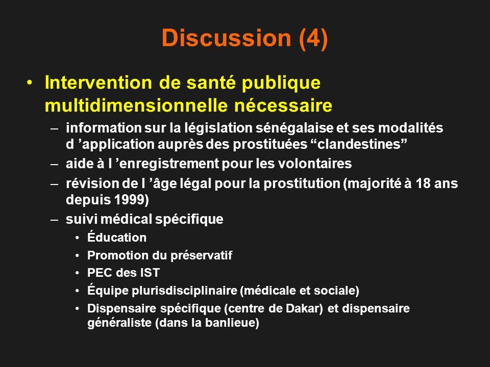 Discussion (4) Intervention de santé publique multidimensionnelle nécessaire.