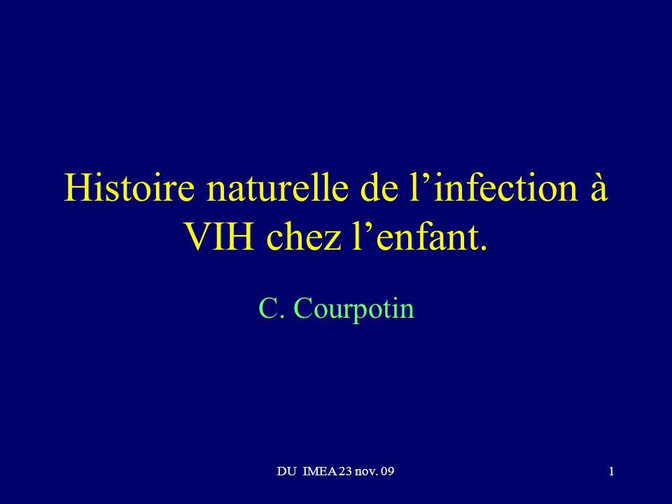 Histoire naturelle de l'infection à VIH chez l'enfant.