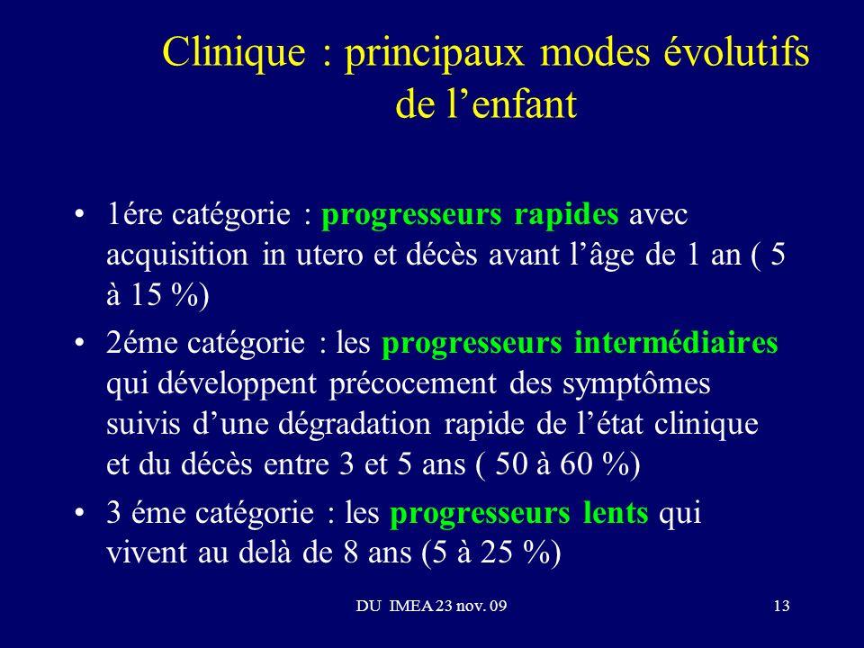 Clinique : principaux modes évolutifs de l'enfant