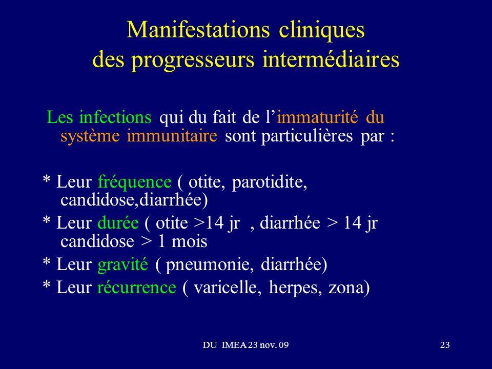 Manifestations cliniques des progresseurs intermédiaires