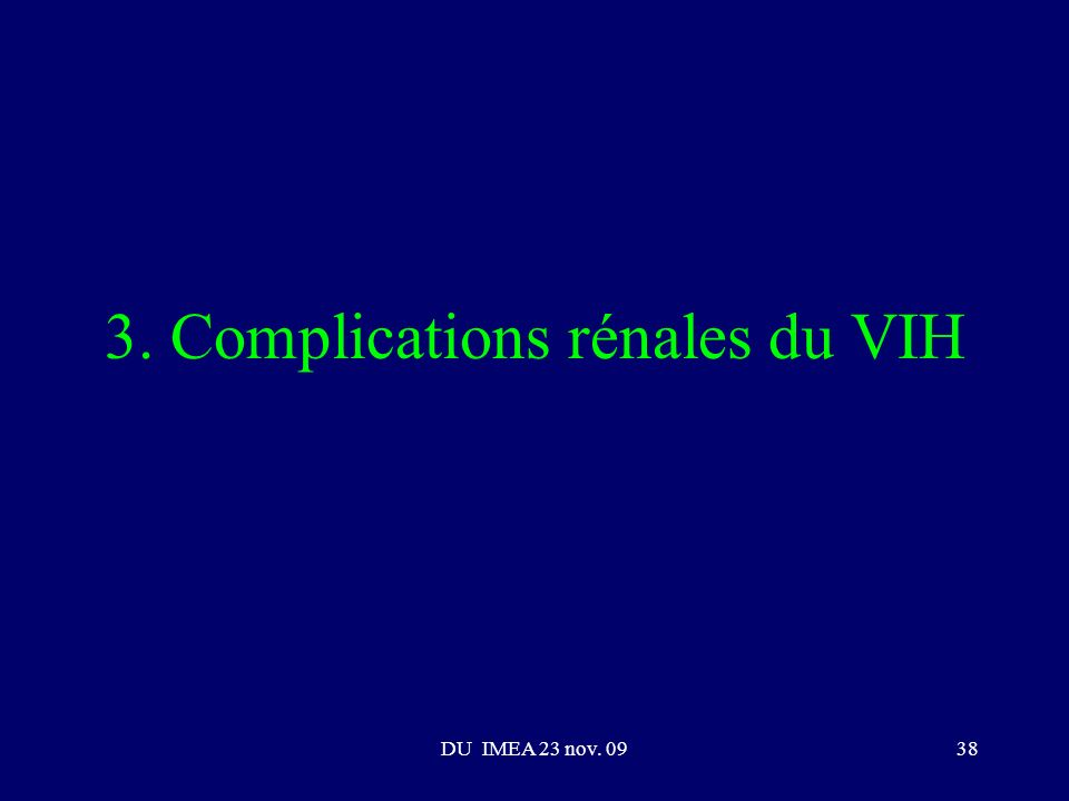 3. Complications rénales du VIH