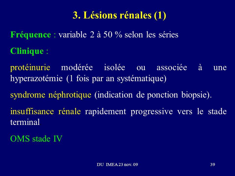 3. Lésions rénales (1) Fréquence : variable 2 à 50 % selon les séries