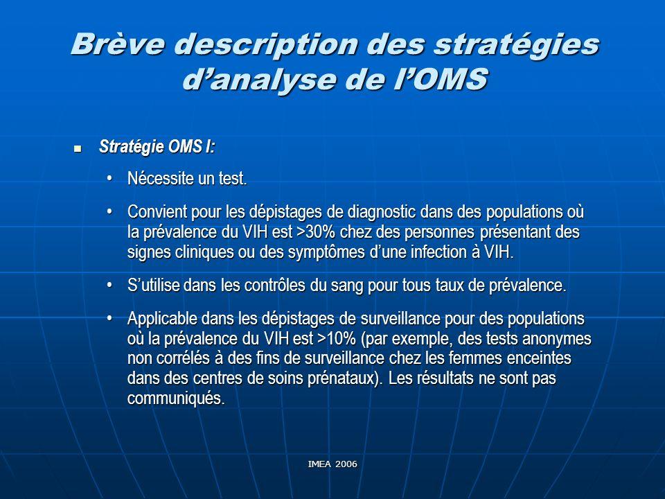 Brève description des stratégies d'analyse de l'OMS