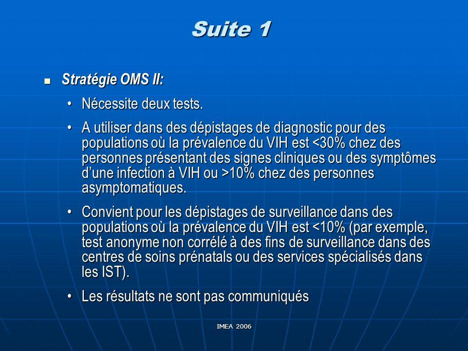 Suite 1 Stratégie OMS II: Nécessite deux tests.