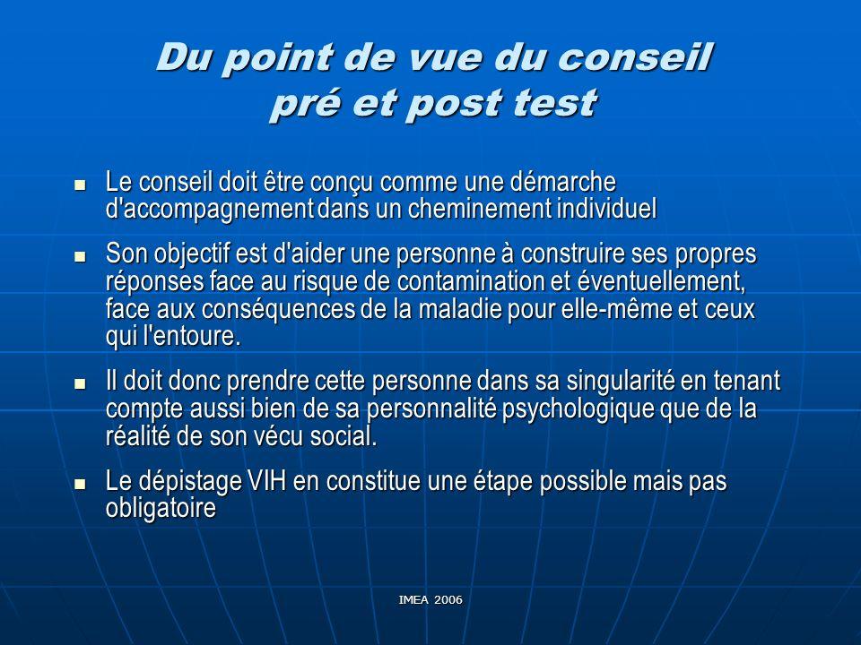 Du point de vue du conseil pré et post test