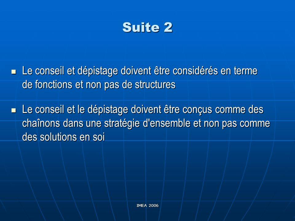 Suite 2 Le conseil et dépistage doivent être considérés en terme de fonctions et non pas de structures.