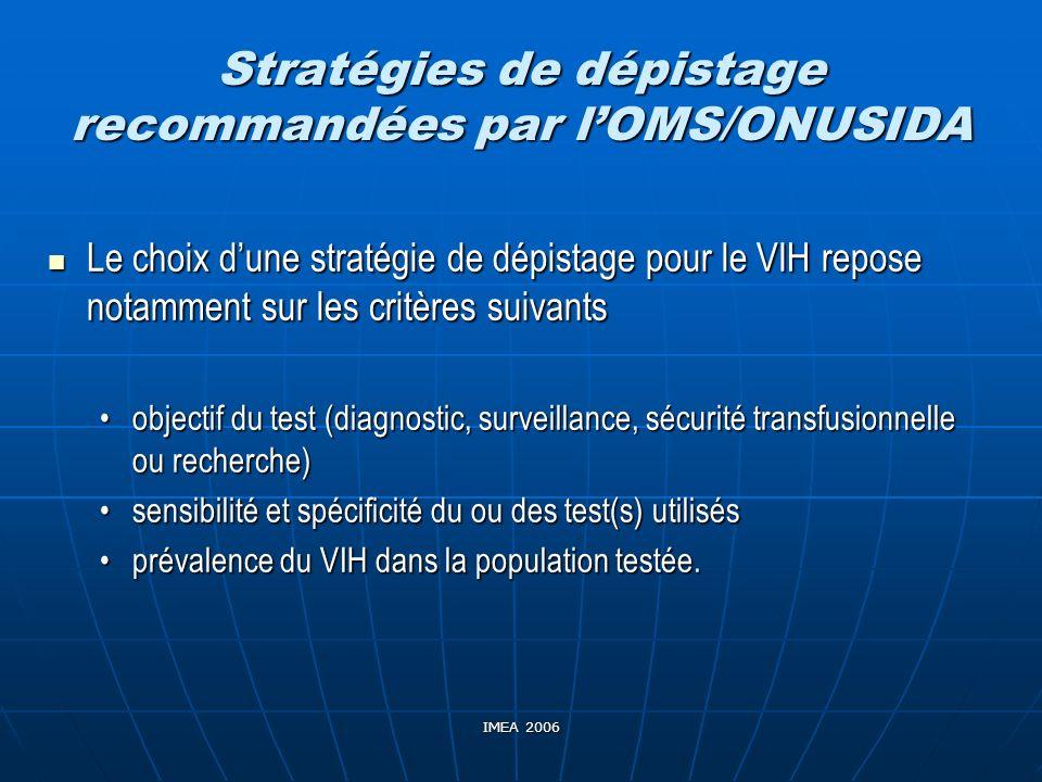 Stratégies de dépistage recommandées par l'OMS/ONUSIDA