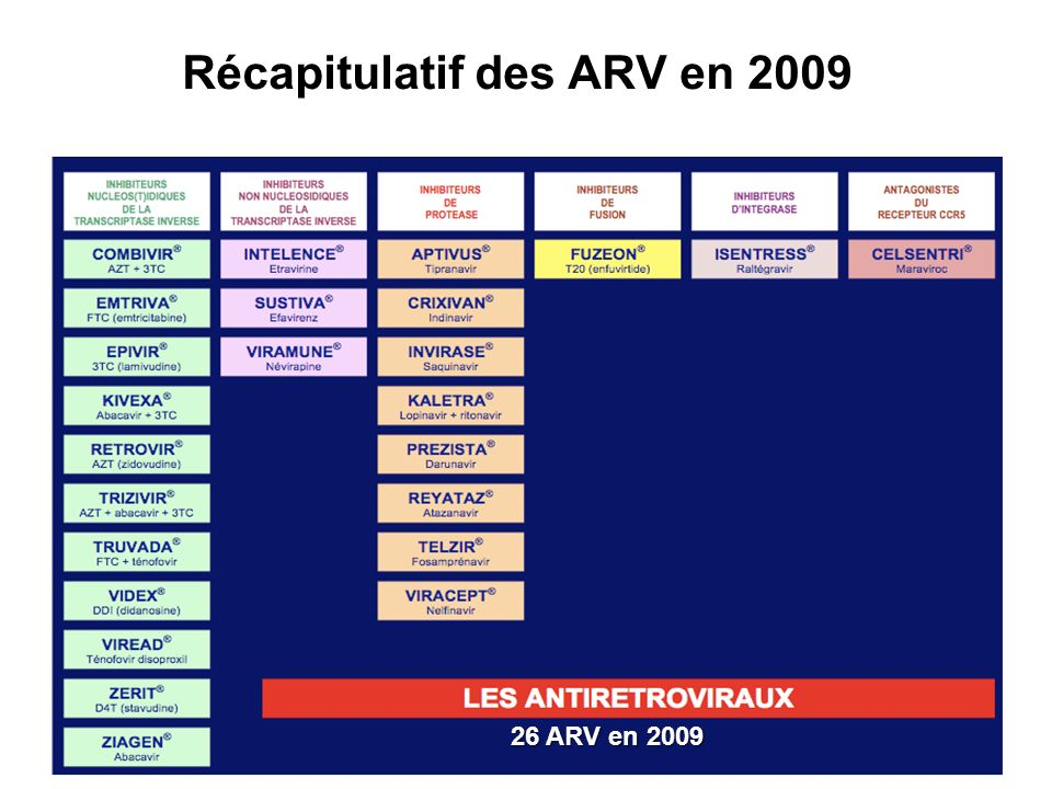 Récapitulatif des ARV en 2009
