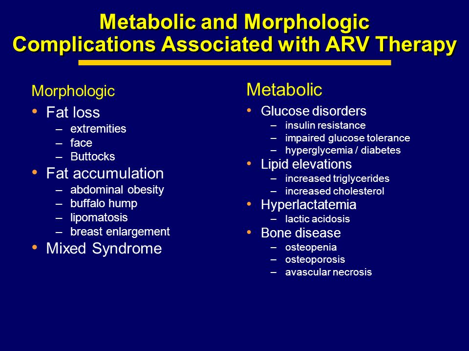 Metabolic and Morphologic Complications Associated with ARV Therapy