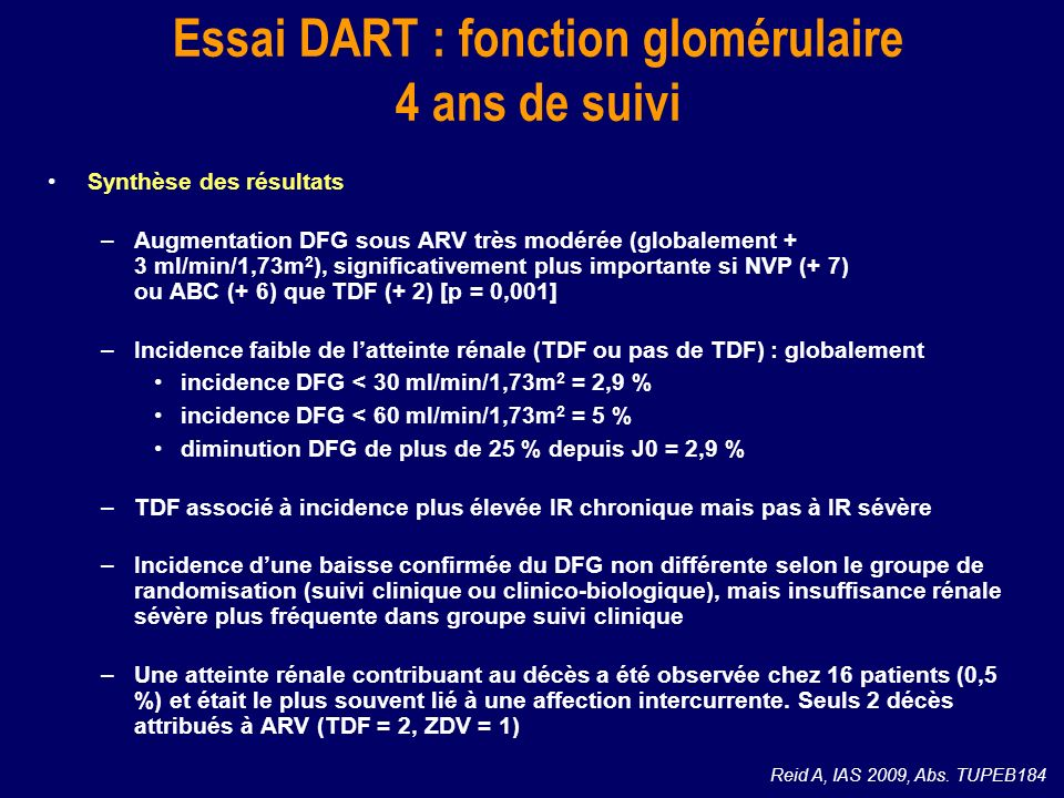 Essai DART : fonction glomérulaire 4 ans de suivi