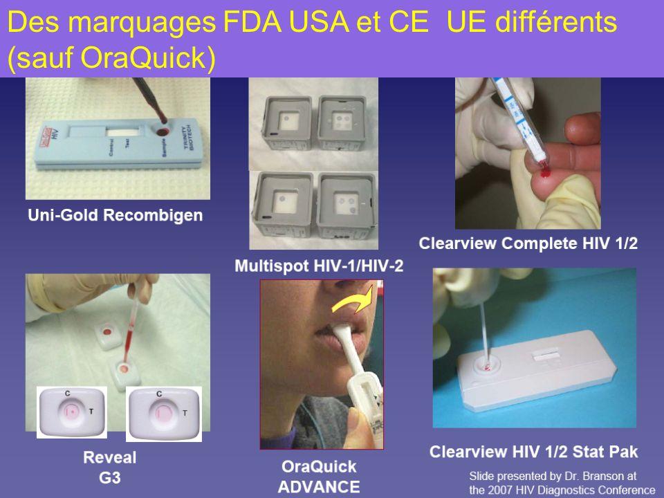 Des marquages FDA USA et CE UE différents (sauf OraQuick)