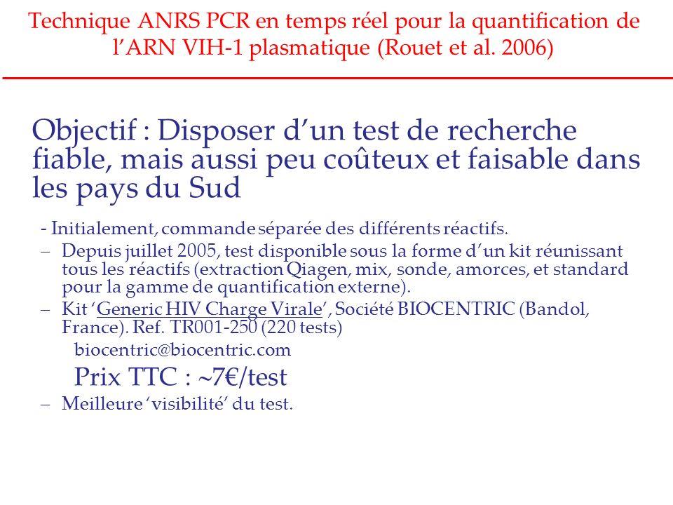 Technique ANRS PCR en temps réel pour la quantification de l'ARN VIH-1 plasmatique (Rouet et al. 2006)