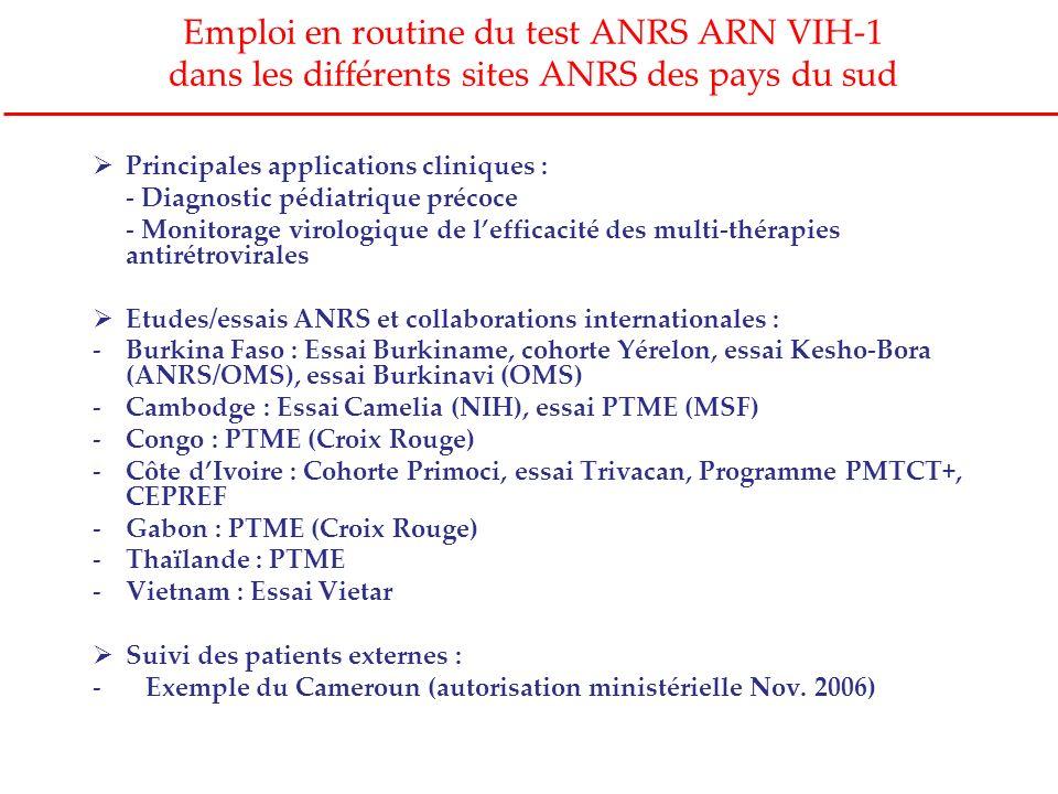 Emploi en routine du test ANRS ARN VIH-1 dans les différents sites ANRS des pays du sud