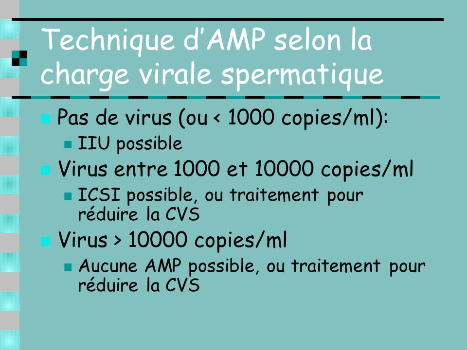 Technique d'AMP selon la charge virale spermatique