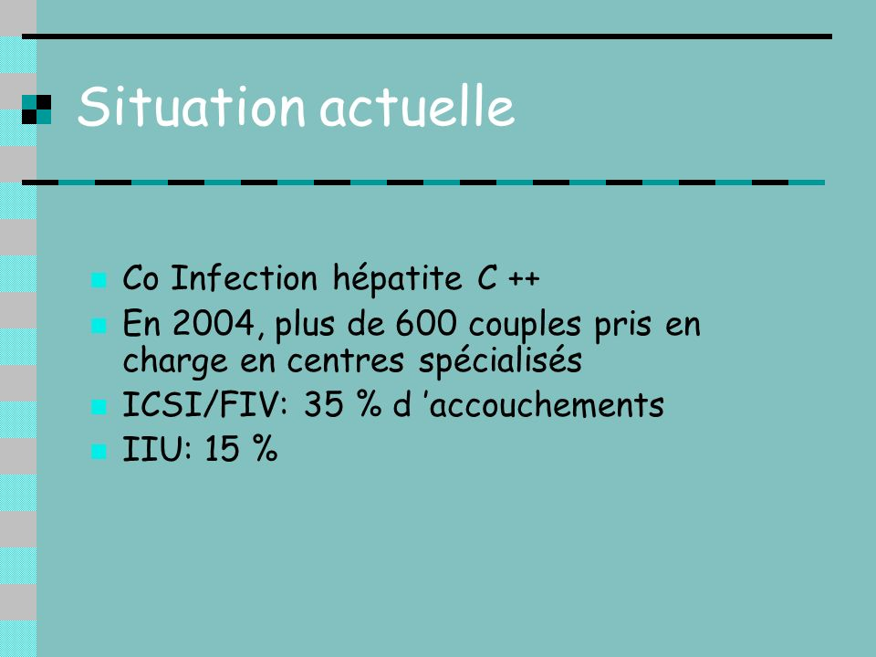Situation actuelle Co Infection hépatite C ++