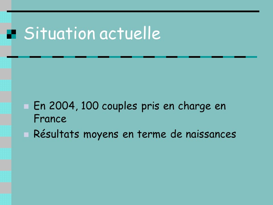 Situation actuelle En 2004, 100 couples pris en charge en France
