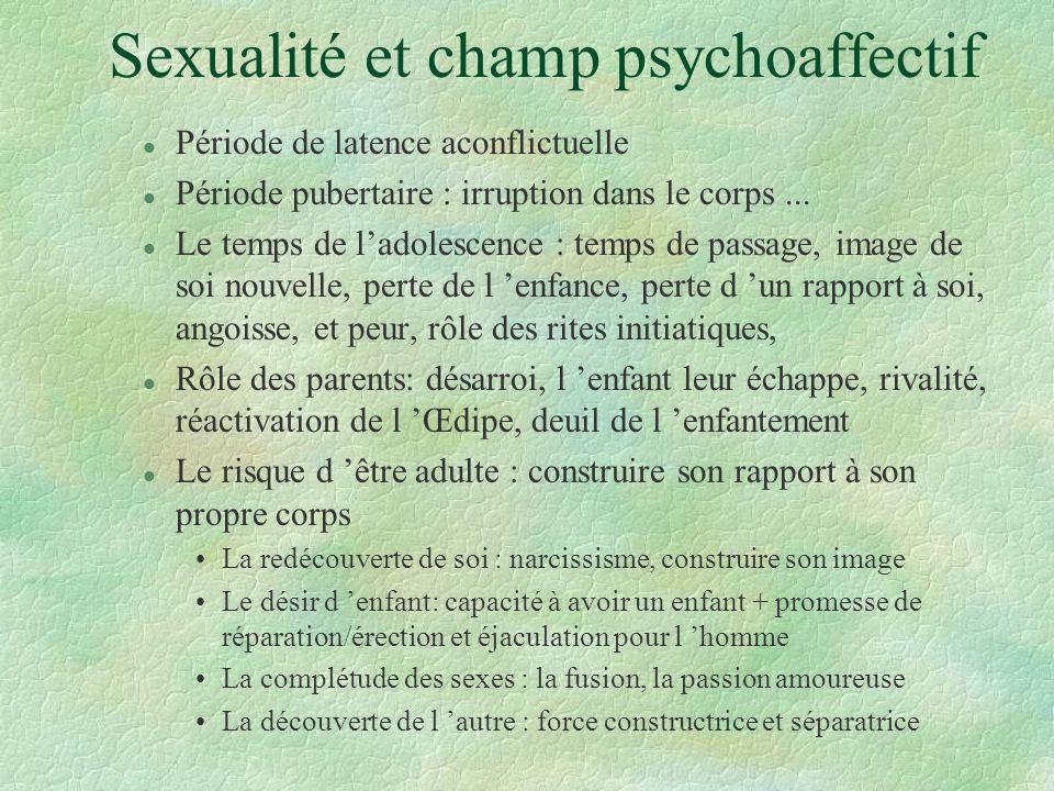 Sexualité et champ psychoaffectif