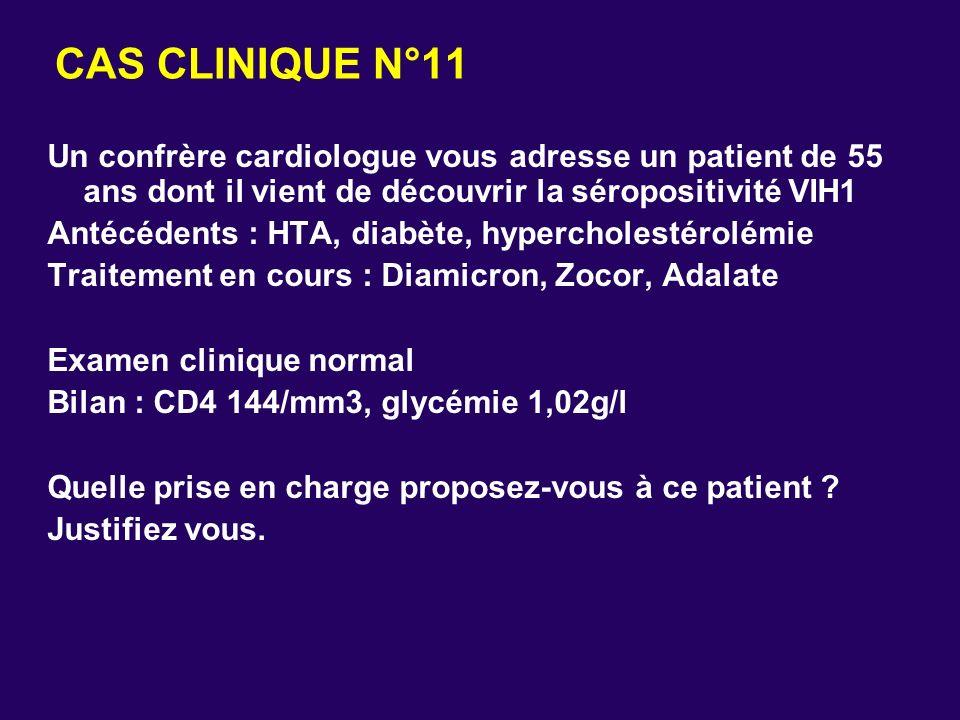 CAS CLINIQUE N°11 Un confrère cardiologue vous adresse un patient de 55 ans dont il vient de découvrir la séropositivité VIH1.