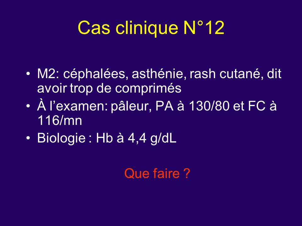 Cas clinique N°12 M2: céphalées, asthénie, rash cutané, dit avoir trop de comprimés. À l'examen: pâleur, PA à 130/80 et FC à 116/mn.
