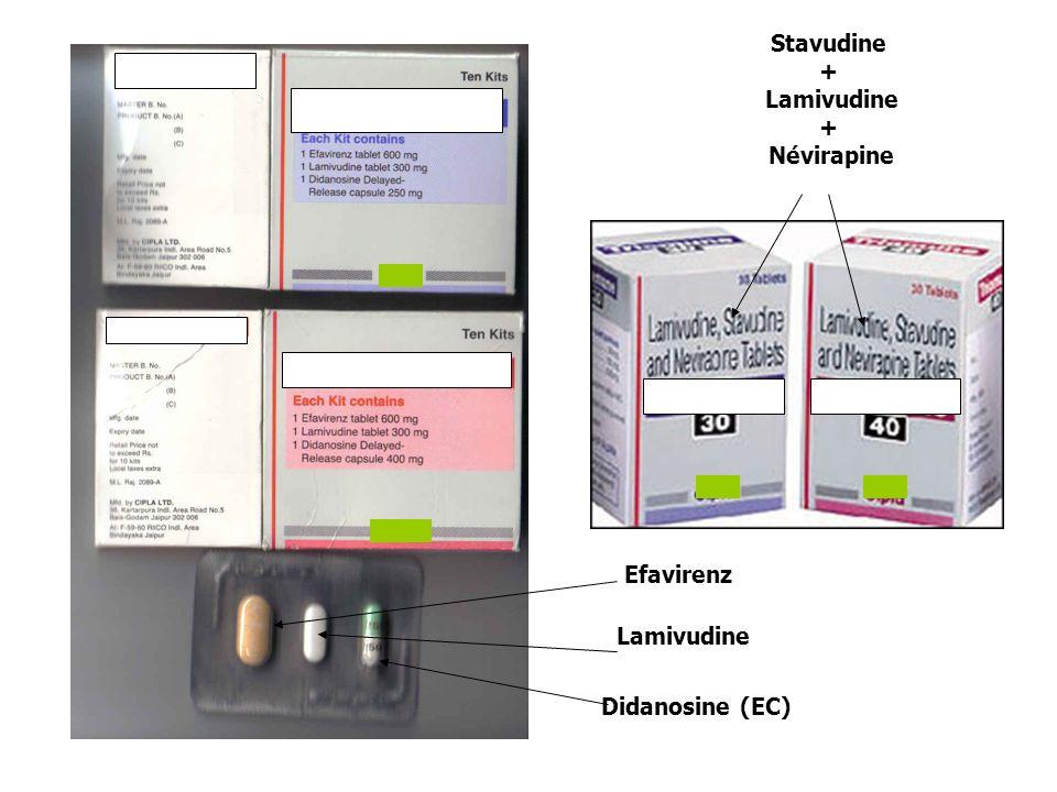 Stavudine + Lamivudine Névirapine Efavirenz Lamivudine Didanosine (EC)
