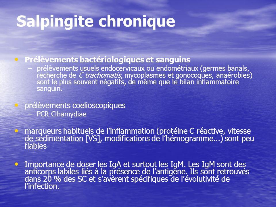 Salpingite chronique Prélèvements bactériologiques et sanguins