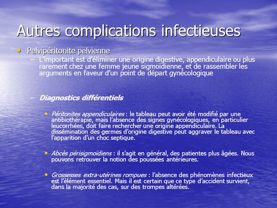 Autres complications infectieuses
