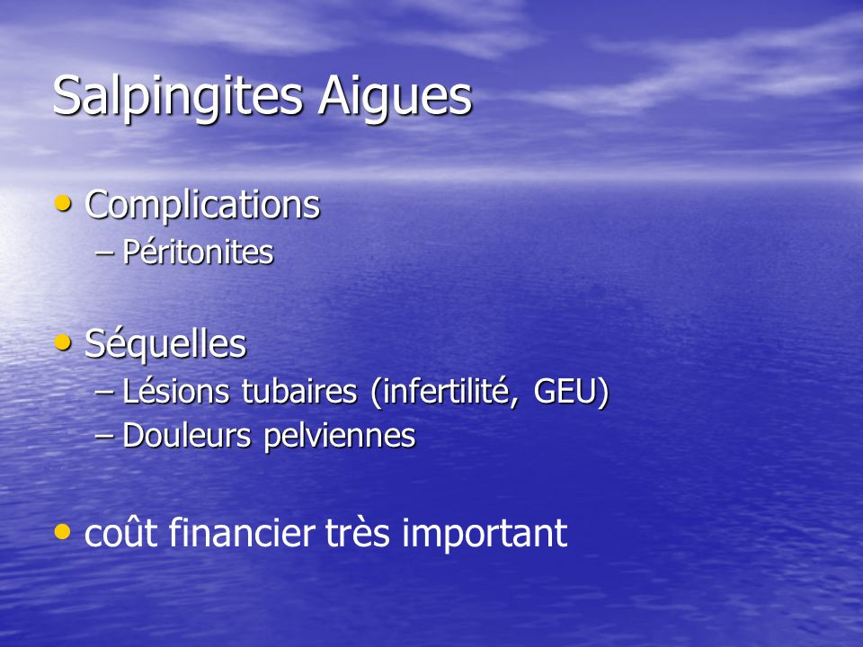 Salpingites Aigues Complications Séquelles