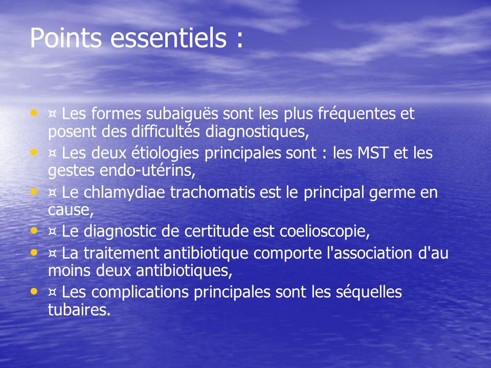 Points essentiels : ¤ Les formes subaiguës sont les plus fréquentes et posent des difficultés diagnostiques,