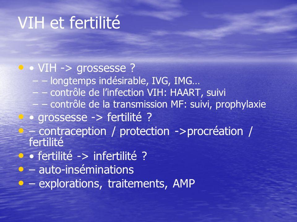 VIH et fertilité • VIH -> grossesse • grossesse -> fertilité