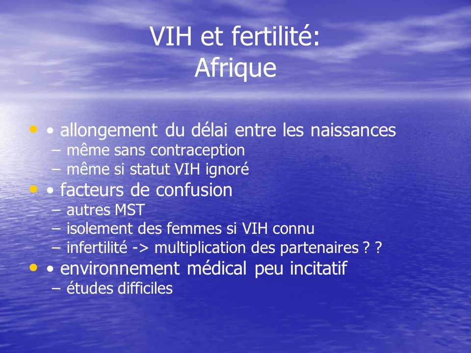 VIH et fertilité: Afrique