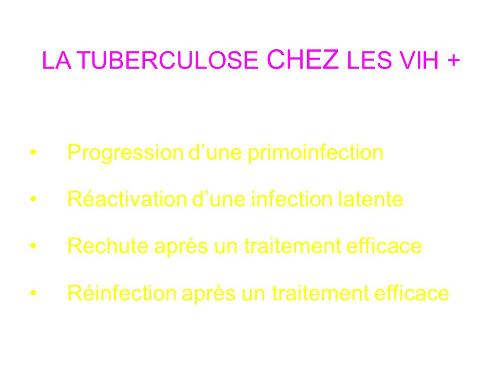 LA TUBERCULOSE CHEZ LES VIH +