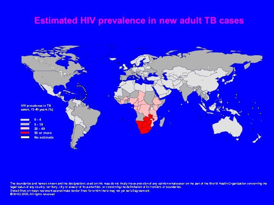 Voici une autres cartes du monde qui montre la prévalence de l'infection au VIH dans les nouveaux cas de TB chez les adultes.
