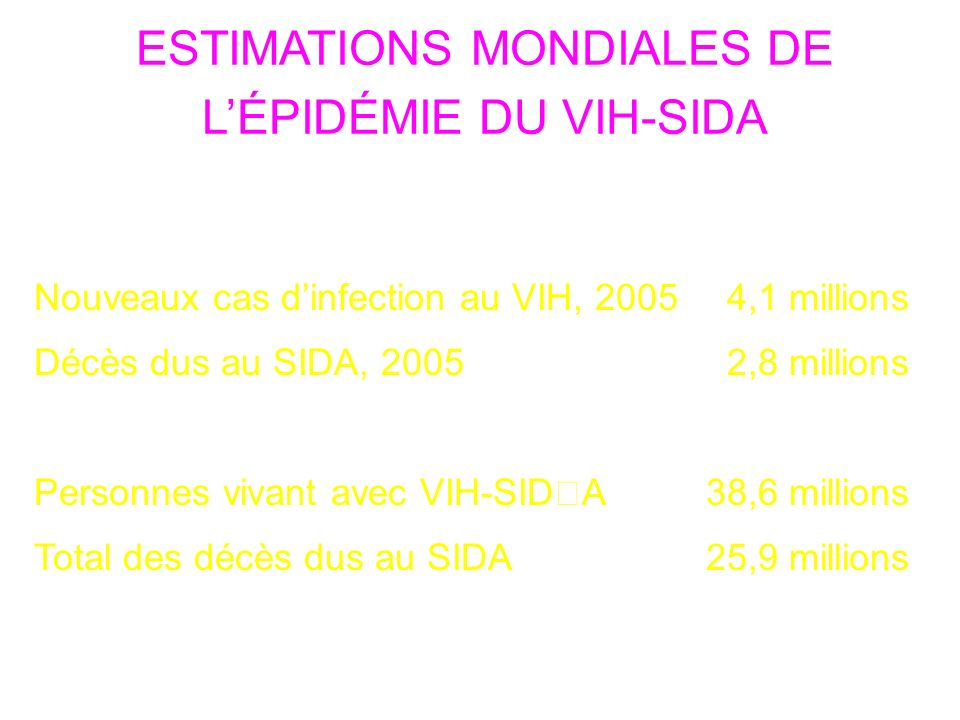 ESTIMATIONS MONDIALES DE L'ÉPIDÉMIE DU VIH-SIDA