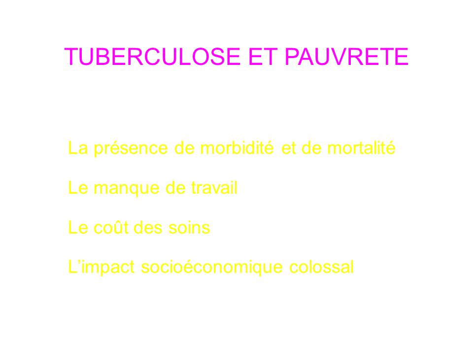 TUBERCULOSE ET PAUVRETE