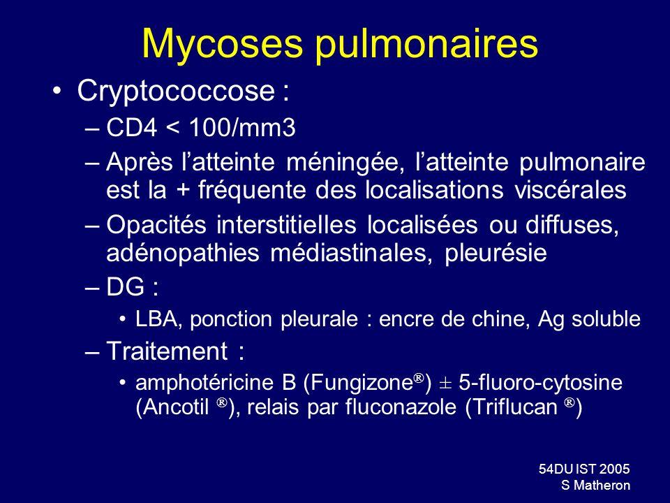 Mycoses pulmonaires Cryptococcose : CD4 < 100/mm3