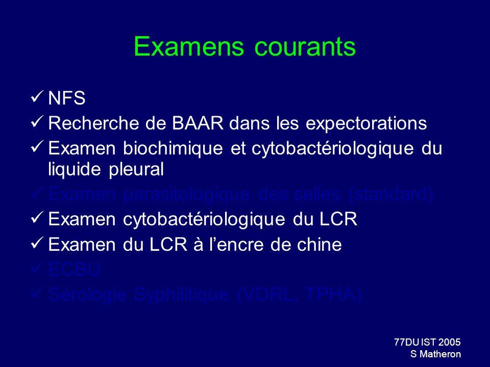 Examens courants NFS Recherche de BAAR dans les expectorations