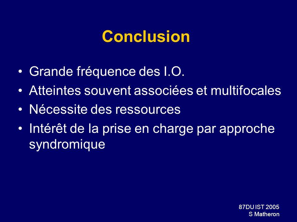 Conclusion Grande fréquence des I.O.