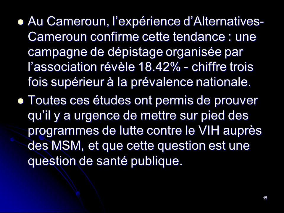 Au Cameroun, l'expérience d'Alternatives-Cameroun confirme cette tendance : une campagne de dépistage organisée par l'association révèle 18.42% - chiffre trois fois supérieur à la prévalence nationale.