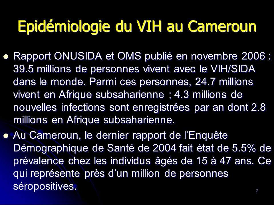 Epidémiologie du VIH au Cameroun