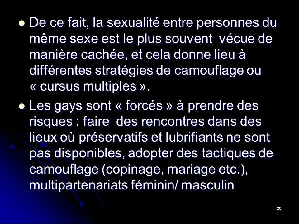 De ce fait, la sexualité entre personnes du même sexe est le plus souvent vécue de manière cachée, et cela donne lieu à différentes stratégies de camouflage ou « cursus multiples ».