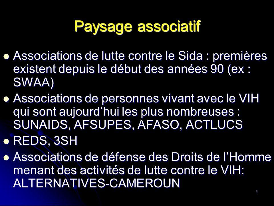 Paysage associatif Associations de lutte contre le Sida : premières existent depuis le début des années 90 (ex : SWAA)