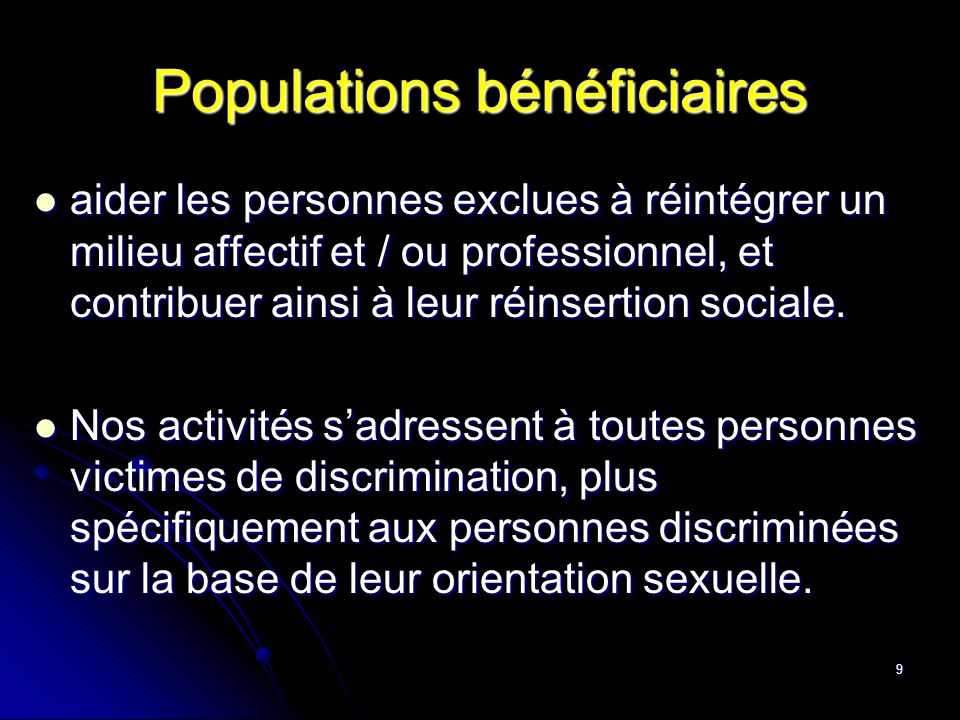 Populations bénéficiaires