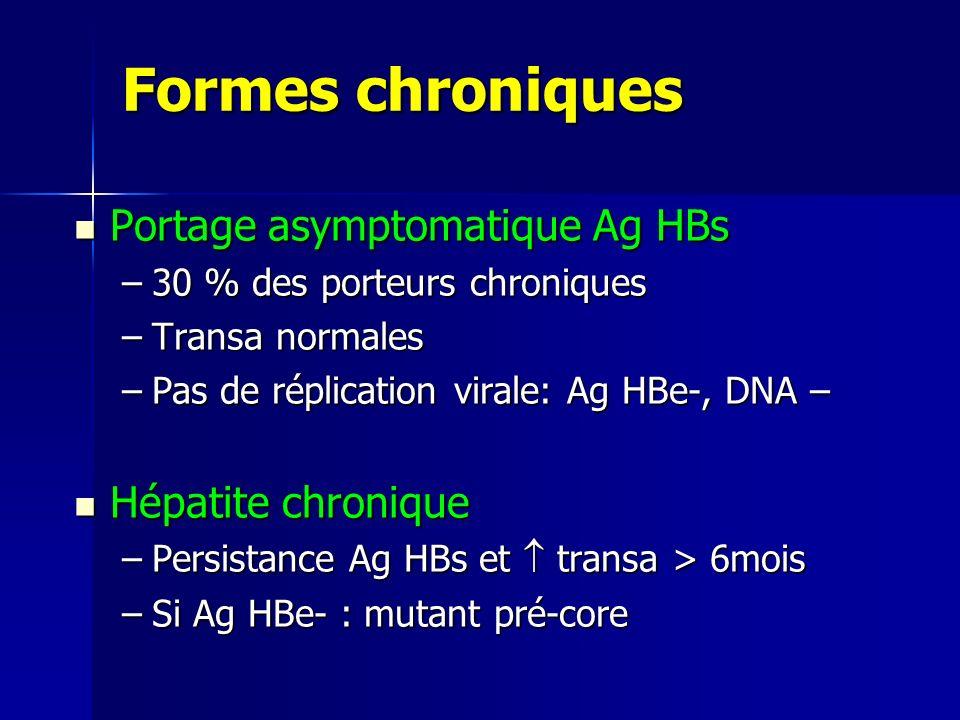 Formes chroniques Portage asymptomatique Ag HBs Hépatite chronique