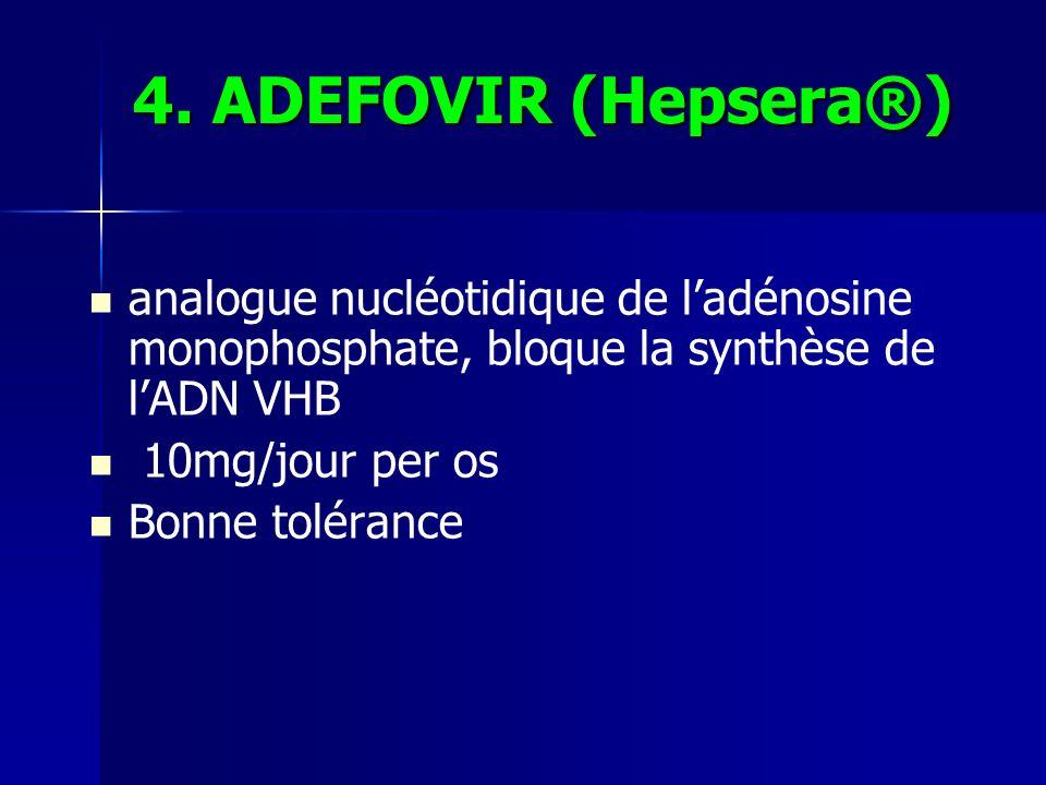 4. ADEFOVIR (Hepsera®) analogue nucléotidique de l'adénosine monophosphate, bloque la synthèse de l'ADN VHB.
