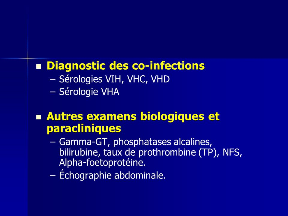 Diagnostic des co-infections