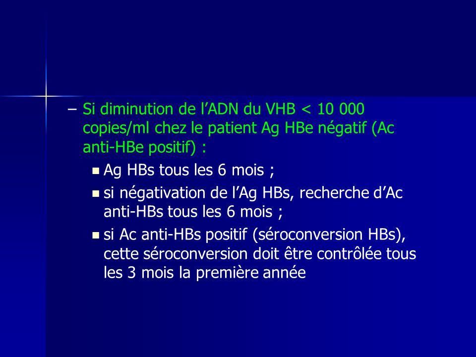 Si diminution de l'ADN du VHB < 10 000 copies/ml chez le patient Ag HBe négatif (Ac anti-HBe positif) :
