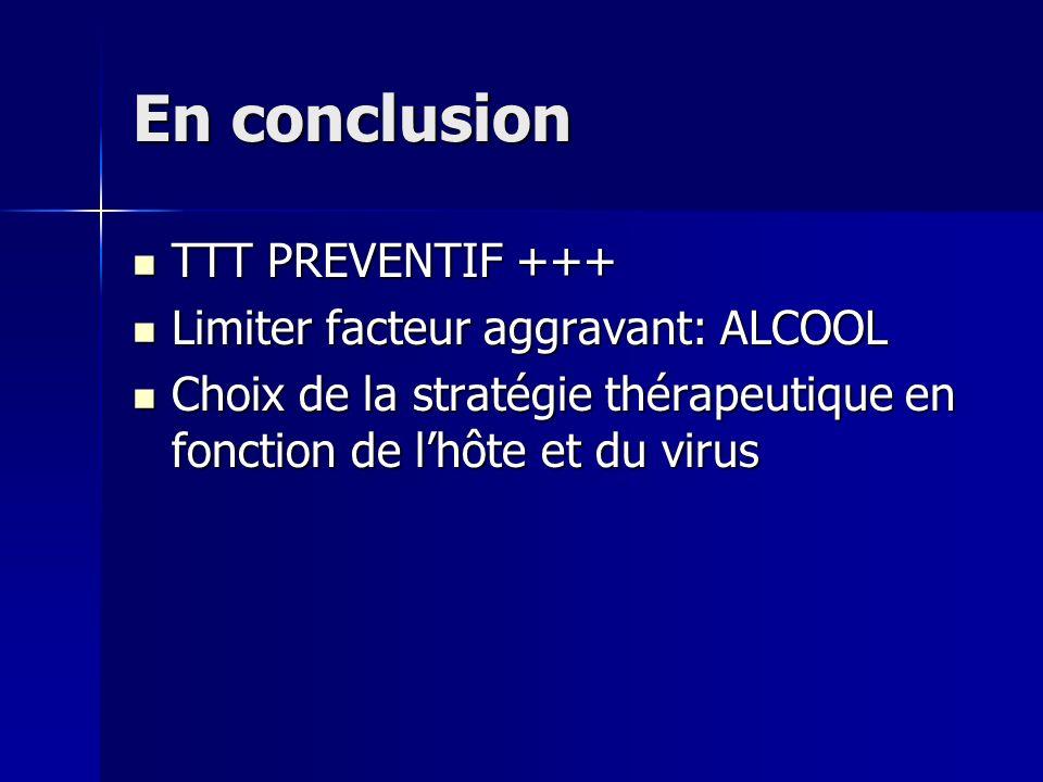 En conclusion TTT PREVENTIF +++ Limiter facteur aggravant: ALCOOL