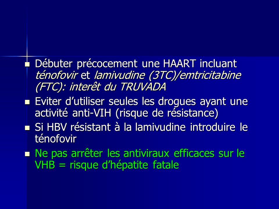 Débuter précocement une HAART incluant ténofovir et lamivudine (3TC)/emtricitabine (FTC): interêt du TRUVADA