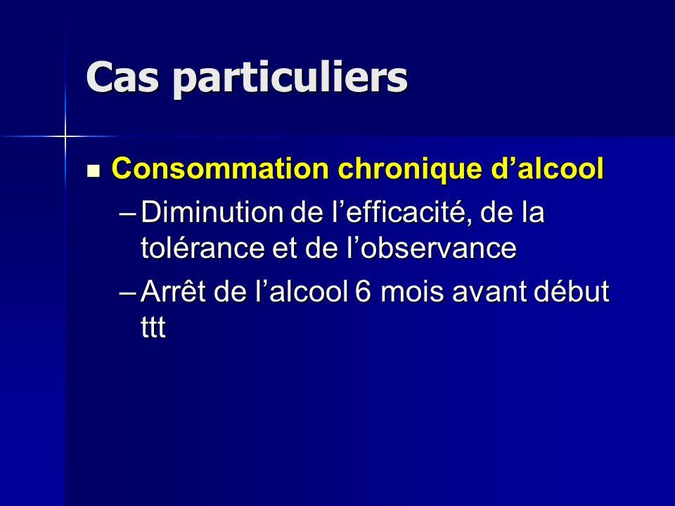 Cas particuliers Consommation chronique d'alcool