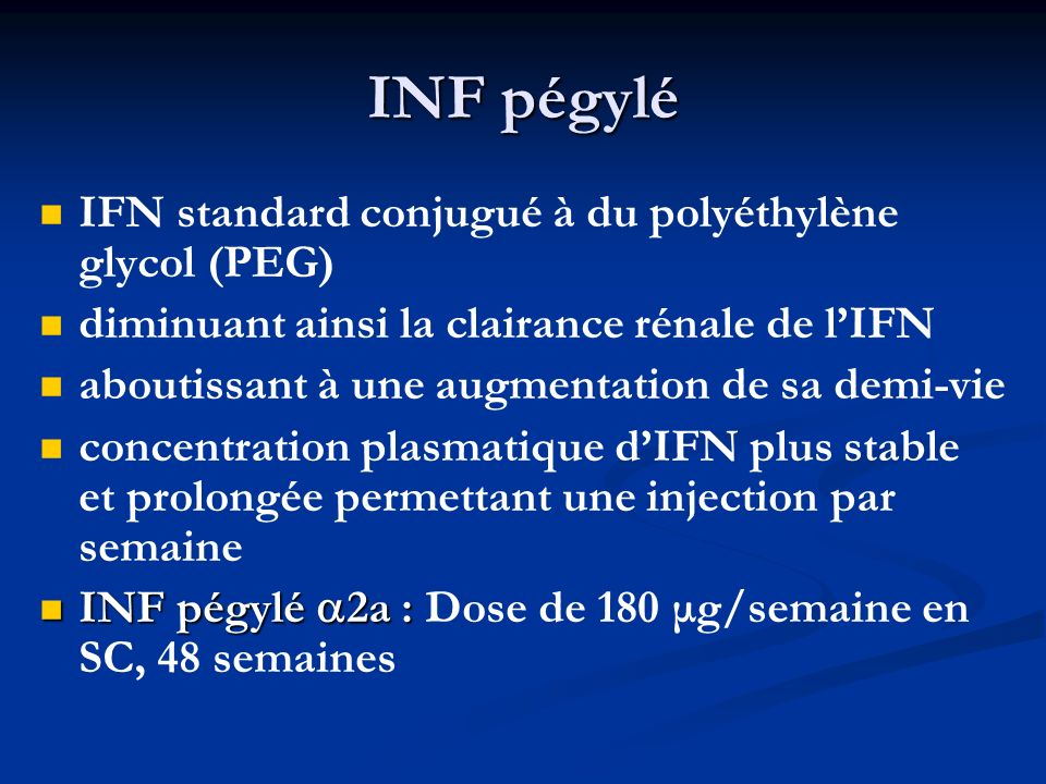 INF pégylé IFN standard conjugué à du polyéthylène glycol (PEG)
